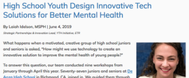 High School Youth Design Innovative Tech Solutions for Better Mental Health