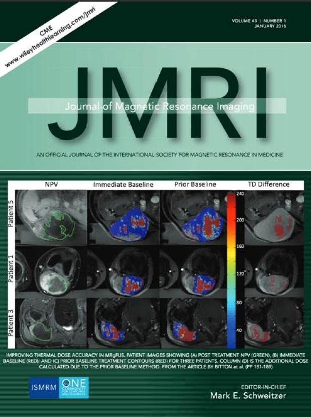 Kim Butts Pauly, PhD and Pejman Ghanouni, MD, PhD Make Cover of JMRI for Their MRgFUS Work!
