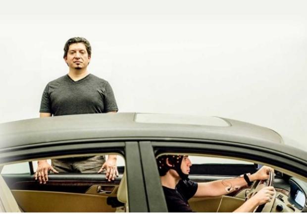 Photo of Pablo Paredes in Stanford's Volkswagen Automotive Innovation Lab