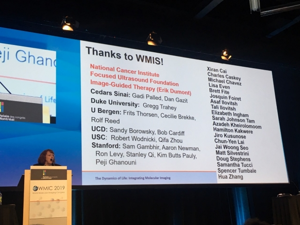Photo of Katherine Ferrara, PhD, giving 2019 WMIS Gold Medal Lecture