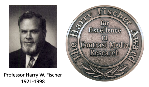 Photo of Harry Fischer and the medal for the Harry Fischer Award for Excellence in Contrast Media Research
