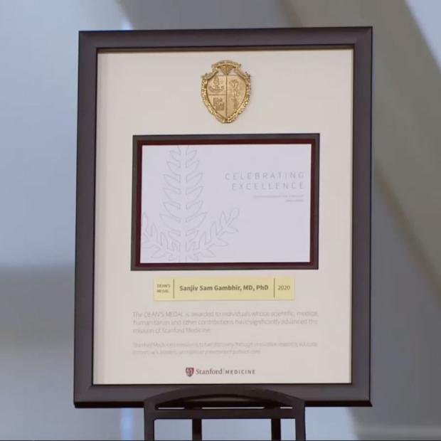 Photo of the 2020 Stanford University School of Medicine Dean's Medal presented to Sanjiv Sam Gambhir, MD, PhD
