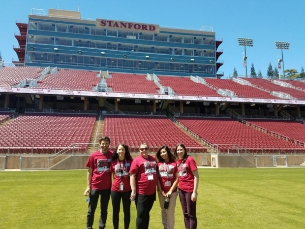 Rodriguez Lab members pose in the stadium at the end of the 2017 Cardinal Walk.