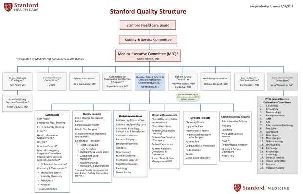 Stanford Health Care Quality Structure