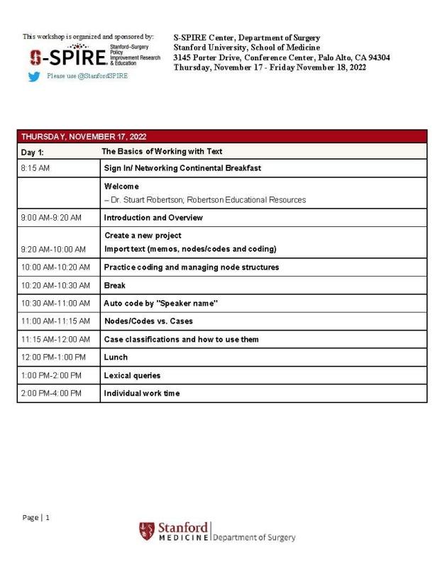 Nvivo Agenda, Day 1