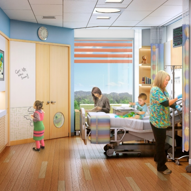 New Lucile Packard Children's Hospital patient room