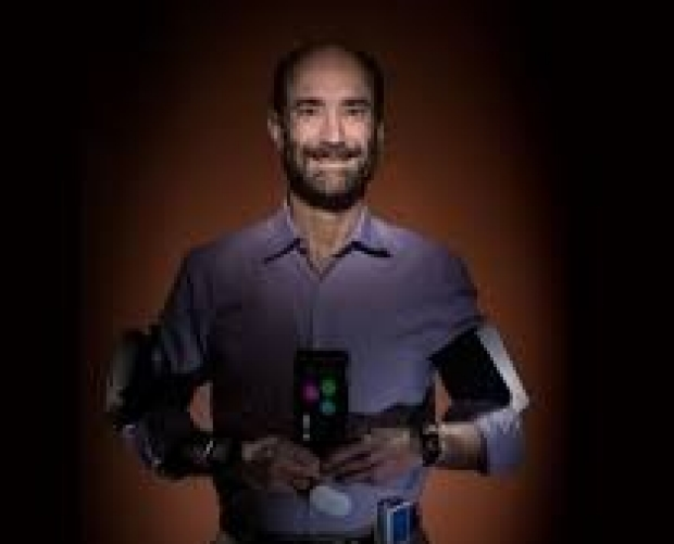 Mike wearing biosensors