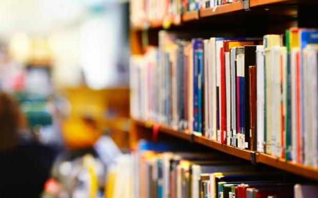 Row of books on a shelf