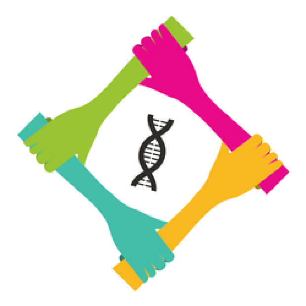Colorful graphic image of hands holding hands and a DNA strand