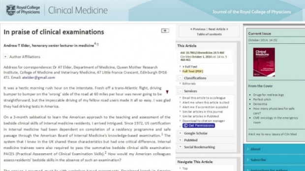 Clinical Medicine Article by Dr. Andy Elder