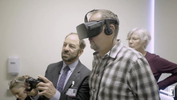 Dr. Steinberg using virtual reality with patient