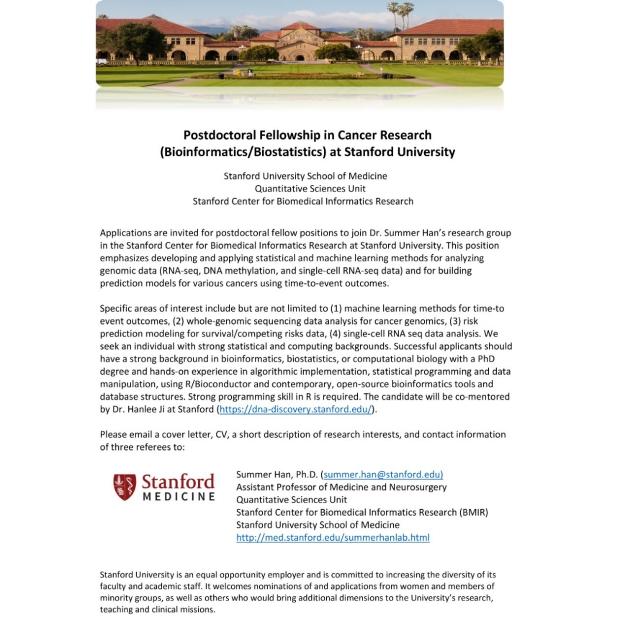 Postdocs/Research Assistant for Bioinformatics