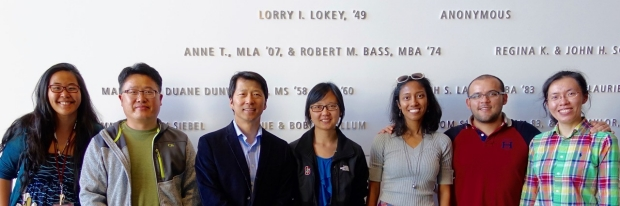 Sunwoo lab team in front of Lokey building