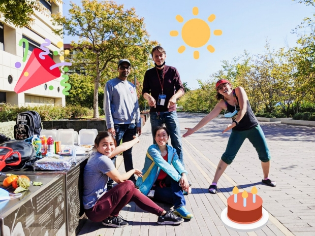 Sunwoo team celebrating bday outside