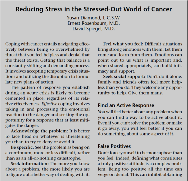 Reducing Stress in the Stressed-Out World of Cancer