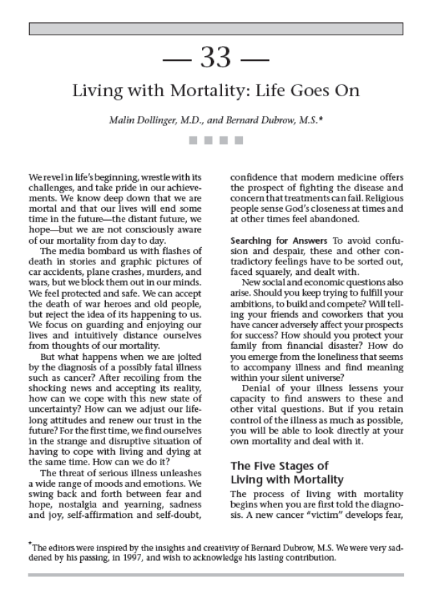 Living with Mortality - page from - Cancer Supportive Care