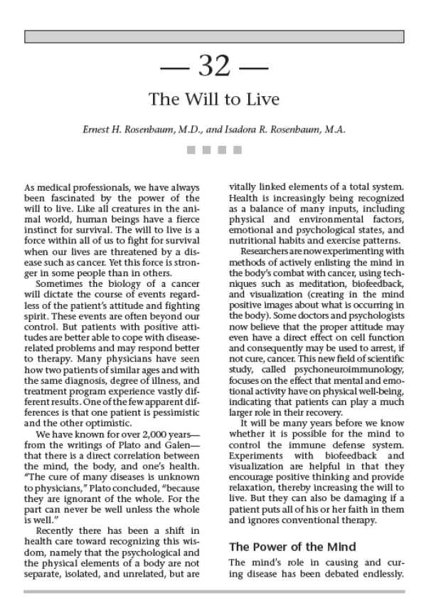 The Will to Live - Cancer Supportive Care