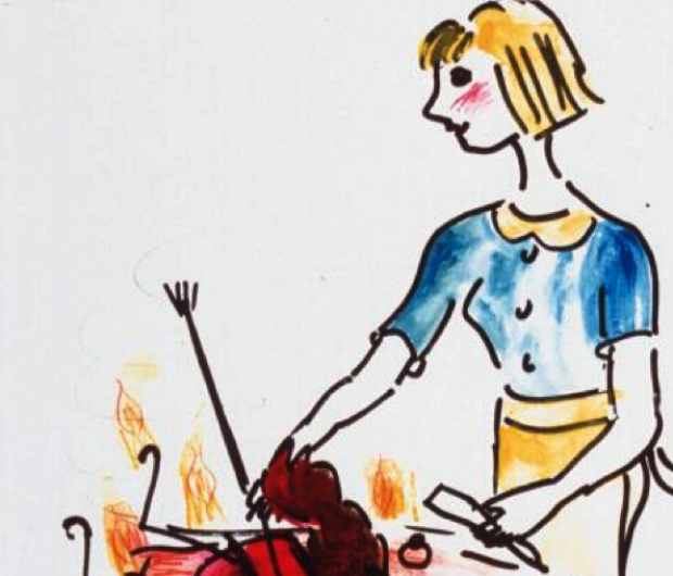 an illustration made by a survivor smiling while they prepare their cancer for lunch