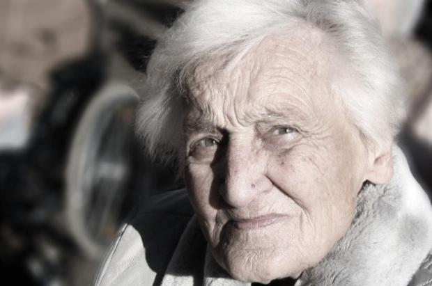 a tough looking elderly female