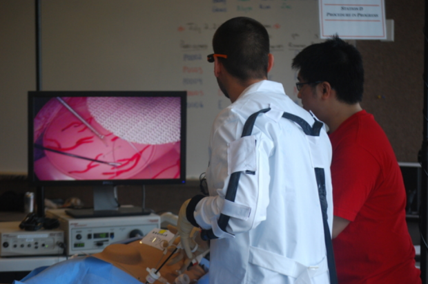 Motion Tracking During a Simulated Laparoscopic Ventral Hernia Repair