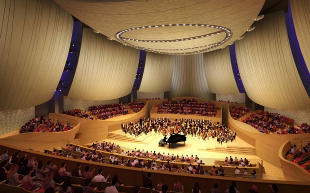 Bing Concert Hall interior. Rendering by Ennead Architects.