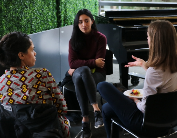 Three women in a discussion