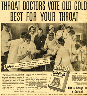 An Example Of The Ads Developed By Tobacco Companies In Their Efforts To Persuade Smokers That Cigarettes Could Help Treat Throat Irritation
