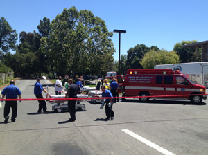 Ambulance arriving at Stanford Hospital Emergency Department after Asiana Airlines crash