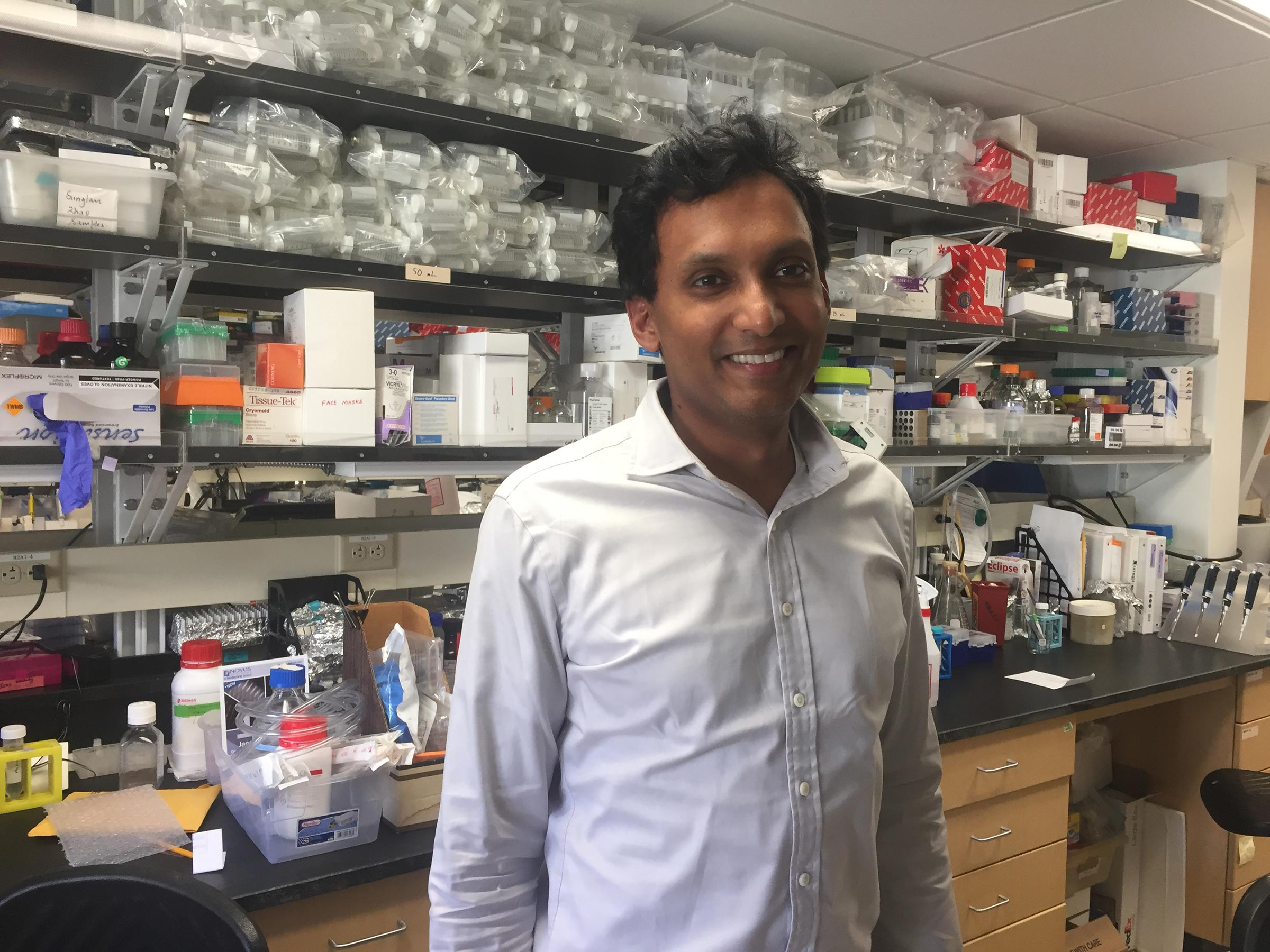 Sid Sinha in his lab at Stanford Medicine.