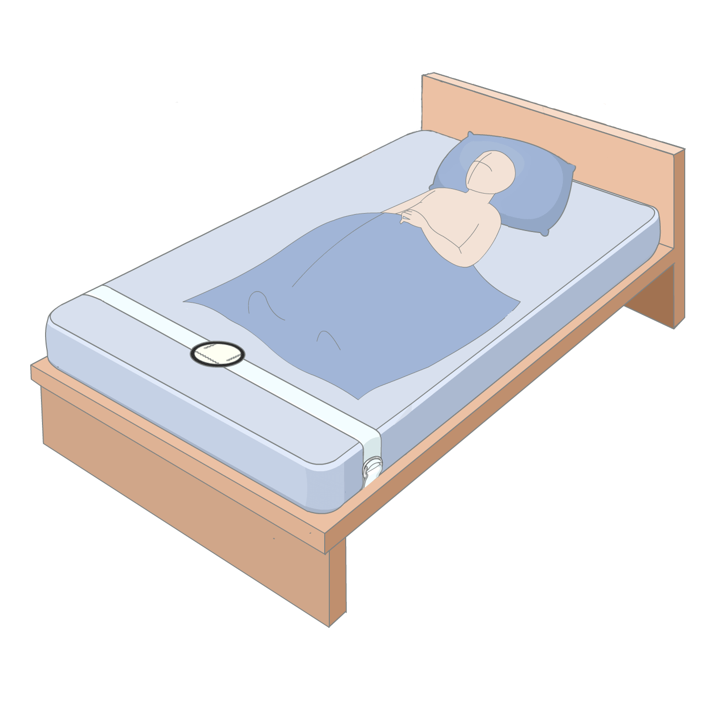 Where and how the sensor is positioned on a child's bed.