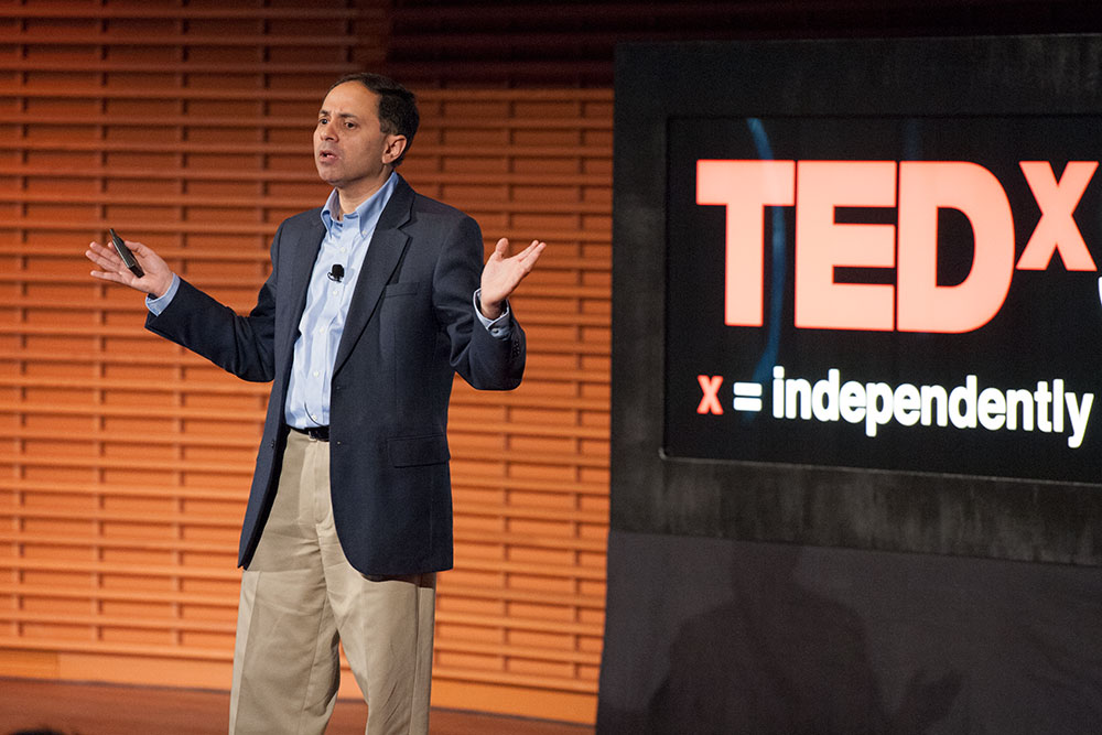 Photo of Dr. Gambhir speaking at 2012 TedXStanford