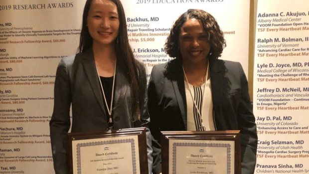 Leah Backhus and Yuanjia Zhu receive funding for cardiothoracic surgery grants