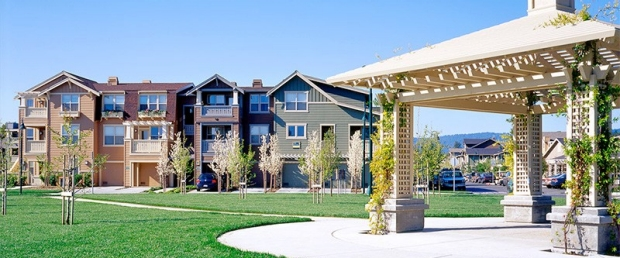 Stanford West Apartments courtyard and gazebo in foreground