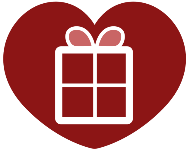 graphic of a present inside a red heart