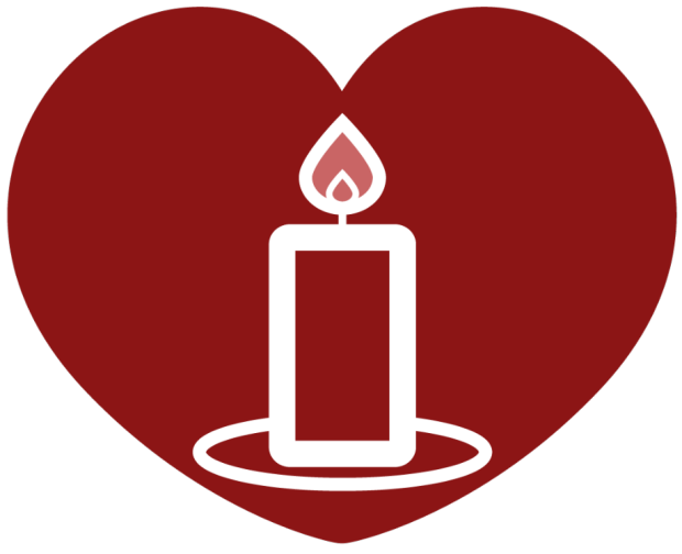 graphic of a candle inside a red heart