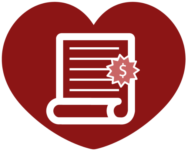 graphic of a document inside a red heart