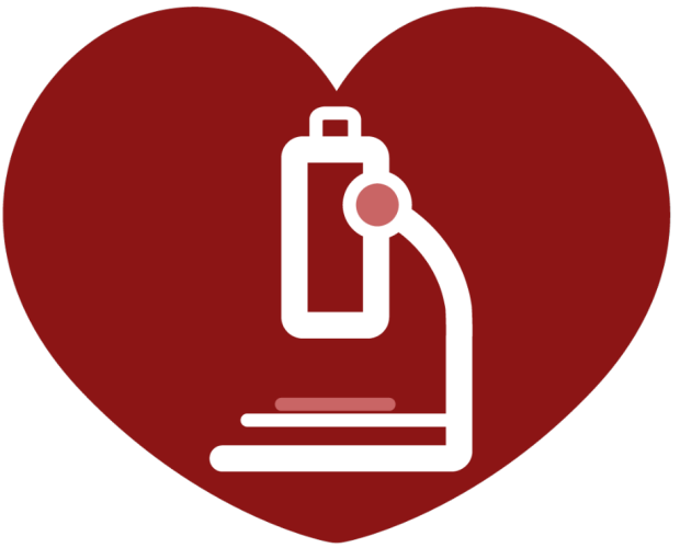 graphic of a microscope inside a red heart