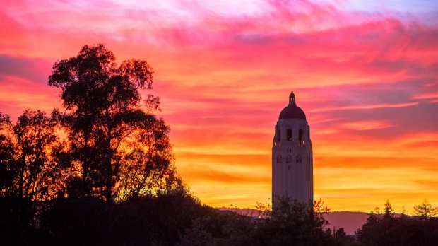 Hoover Tower at sunset