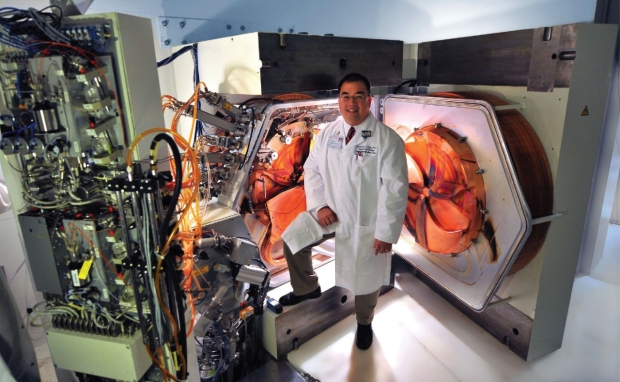 Photo of Fred Chin and the Stanford Cyclotron Vault opened