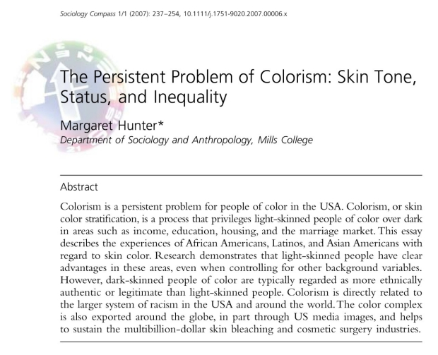article abstract The Persistent Problem of Colorism: Skin Tone, Status, and Inequality