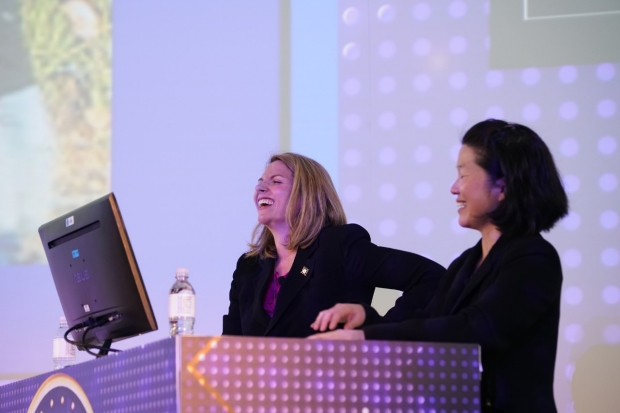 "Drs. Santini and Yang host ""Neurojeopardy: Telencephalon Twisters"" game show at the 2018 AAN annual meeting."