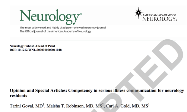 Neurology article accepted