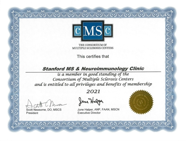 Stanford MS Center Certificate 2020