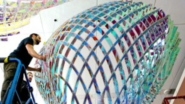 A latticework of iridescent color and light