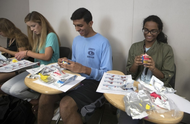 Four students making brain models out of clay