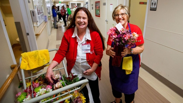 Delivering flowers, encouragement to patients