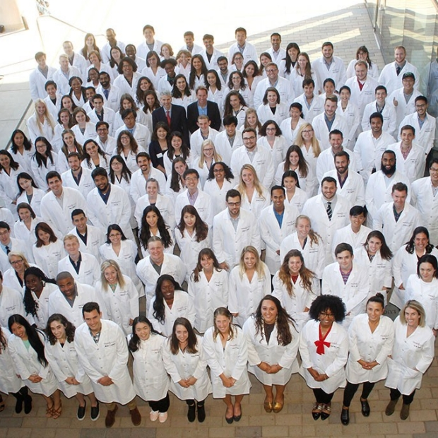 New graduate students in biosciences welcomed with lab coats