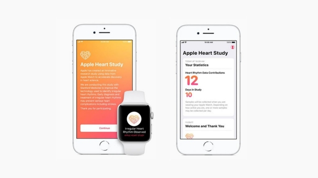 Screenshots of the Apple Heart study app