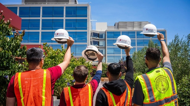At new hospital, hard hats (mostly) come off