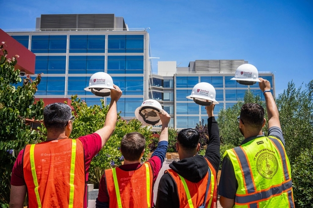 Construction workers at Stanford Hospital